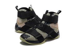 e567fd8bf3ac 2017 April New Arrival Nike LeBron Soldier 10 X Camo Black Olive Grey Cheap  - Click Image to Close