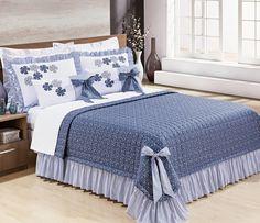 32d383ec1c Colcha Bernadete Casa Super King Doce Lar - Kit 7 Peças - Azul