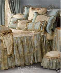 """Stunning ensemble in shades of blue with a dreamy overlay on the bedspread drop! Lots of lush tassel fringe! Queen Bedspread available in 24"""" or 28"""" drop! QUEEN size.""""Crystal Palace"""" Custom Bedding By Sweet Dreams!   eBay!"""