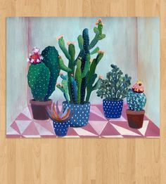 Cactus garden - illustration - giclee print Cactus garden - illustration by Laura Garcia Serventi Glicee Prints, Illustration, Painting Illustration, Botanical Illustration, Cactus Illustration, Painting, Art, Spring Wall Art, Garden Illustration