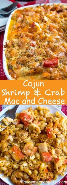 This Cajun Shrimp and Crab Mac and Cheese is super creamy, cheesy and decadent. This delicious spin to the classic dish will surely be your new favourite! I made this mac and cheese for Christmas dinner[. Fish Recipes, Seafood Recipes, Chicken Recipes, Cheese Recipes, Seafood Meals, Easy Cajun Recipes, Vegemite Recipes, Seafood Soup, Al Dente