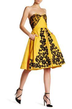 d43b9faf5aee Oscar de la Renta Strapless Lace Embellished Floral Dress Under Dress, Dress  Up, Trouser