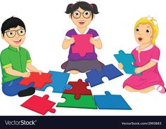 Kids Playing Puzzle vector image on VectorStock Free Vector Images, Vector Free, Play Puzzle, Classroom Walls, Working With Children, Kids Playing, Presentation, Kids Work, Family Guy
