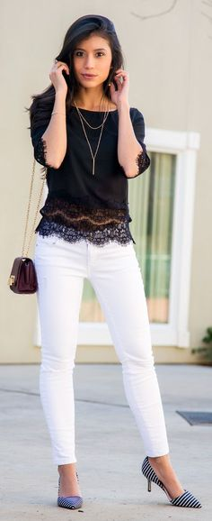 Stripes And Lace Bw Outfit by Stylishly Me