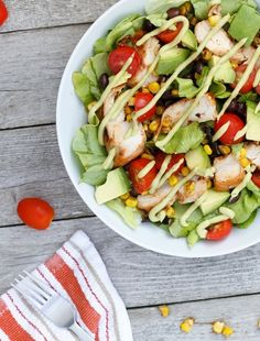 BBQ chicken with an avocado dressing