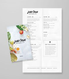 Juby True Branding and Art Direction - Project M Plus Menu Design