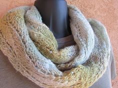 "Misty Soft is a double-sided infinity scarf with no edges and no wrong side showing. Finished as one continuous piece with ""fake grafting"", the loop can be draped casually twice around the neck as a cowl, worn elegantly over your head and once around your neck, or simply as a loop scarf."