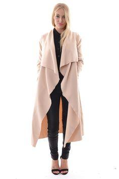 Long camel waterfall coat   Fall Fashion   Pinterest   Coats