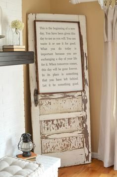 Vintage Home How to safely secure an old door to the wall. Great tip to safely use old doors as decor in your home. - This quick tip will show you how to safely secure an old door to the wall. Great idea to safely decorate with old doors in your home! Old Door Decor, Wood Home Decor, Unique Home Decor, Vintage Home Decor, Cheap Home Decor, Old Window Decor, Wall Decor, Wall Art, Vintage Doors