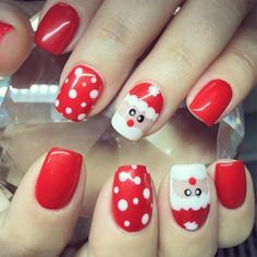 70 Ideas For Nails Design Red Ongles Christams Nails, Christmas Gel Nails, Christmas Nail Art Designs, Holiday Nails, Red Christmas, Red Nail Designs, Nail Decorations, Red Nails, Cute Nails