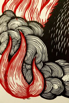 Peter Nevins ~ Detail of A MONSTER IS BORN! ~ Woodcut