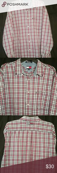 🌟VINTAGE🌟✴ TOMMY HILFIGER ✴ Worn but NO BLEMISHES👌100% cotton soft♥  XL🔹COLORS are of course RED/WHITE/BLUE Vintage Tommy Hilfiger Shirts Casual Button Down Shirts