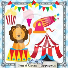 Freshly Drawn - Fun in Circus - Cliparts and graphics Vector pack. $5.00, via Etsy.