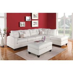 Acme Furniture - Kiva 2 Piece Bonded Leather Sectional Sofa Set in White - Tufted Sectional Sofa, Living Room Sectional, Upholstered Sofa, Acme Furniture, Sofa Furniture, Living Room Furniture, Furniture Shopping, Kitchen Furniture, Kitchen Dining