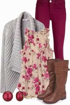 I am slowly developing a crush on this outfit. I think I hate the top, but something in a white/grey/cranberry floral could work...