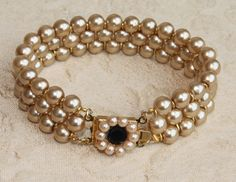 Wedding Bridal Pearls Bracelet  Golden Pearls by mylittlebride, $89.00