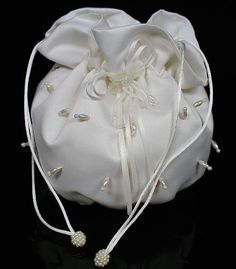 Ivory Satin Bridal Beaded Wedding Money Dance Bag Purse