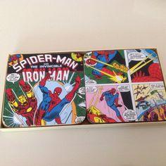 Set of 6 Iron Man & Spider-Man comic coasters by ComicKamikaze