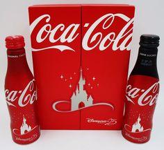 *25th Anniversary Disneyland Paris Aluminum Coca Cola 2 Bottle Box Set 500 Made!