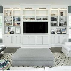 White Living Room TV Cabinet with Nickel Picture Lights