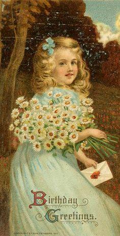 Vintage Birthday Greetings ~ girl with daisies Birthday Postcards, Birthday Greeting Cards, Birthday Greetings, Birthday Wishes, Vintage Greeting Cards, Vintage Ephemera, Vintage Postcards, Vintage Clip, Happy Birthday Vintage