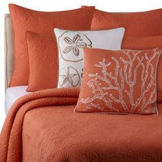 Solid Seashell Coral Quilt - Bed Bath & Beyond This set comes in a variety of colors that u could mix and match at your cottage Coastal Bedding, Coastal Bedrooms, Beach Bedrooms, Luxury Bedding, Coral Pillows, Bed Pillows, Pillow Shams, Throw Pillow, Ocean Quilt