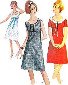 1960s Dress Pattern Simplicity 5961 Mod Empire by paneenjerez, $16.00