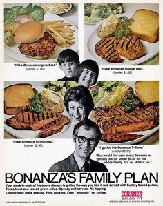 """Bonanza Steak House """"Family Plan"""" ad"""