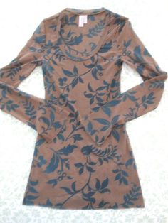 Sweet Pea by Stacy Frati, Sheer Stretch Long Sleep Top, Brown w/Black Floral, L | Clothing, Shoes & Accessories, Women's Clothing, Tops & Blouses | eBay!
