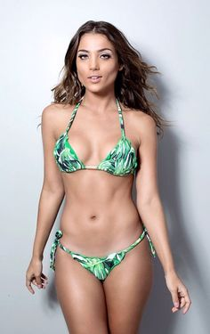 White & Green Tropical Palms Triangle Top Bikini