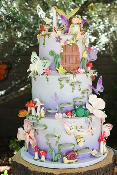 Incredible cake at a fairy birthday party! See more party ideas at CatchMyParty.com!