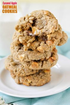 Caramel Apple Oatmeal Cookies -- apple oatmeal cookies filled with gooey caramel apple. So buttery and good. Perfect Fall cookie!