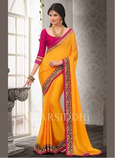 BEST SELLERS!!  Deserving Gold Satin Chiffon Party Wear Saree  Product Order Link http://www.maplefashions.com/sarees/deserving-gold-satin-chiffon-party-wear-saree_12452#.VRoyFvyUeSo  Call or Whatsapp : +919377152141 SHOP NOW!