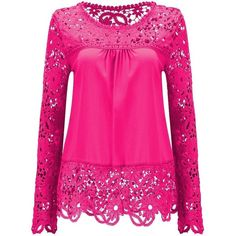 AvaCostume Womens Lace Shoulder Long Sleeve Blouse T Shirt Casual Lace... ($13) ❤ liked on Polyvore featuring tops, blouses, pink button up shirt, pink shirts, long sleeve blouse, long sleeve lace top and button up shirts