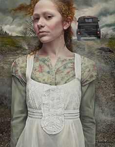 """""""Gust"""" by Andrea Kowch. Acrylic on canvas, 18 x 14 inches. Courtesy of RJD Gallery.  ."""