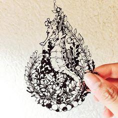 タツノオトシゴ #切り絵 #papercutting