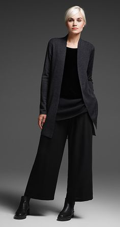 EILEEN FISHER New Arrivals: Merino Long Cardigan,Velvet + Silk Top, Wide-Leg Ankle Pant + Chelsea Bootie