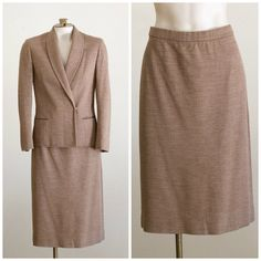Tan tweed skirt suit from Butte Knit SIZE by TimeTravelFashions on Etsy