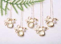 Gold Fill & Stone in Bezel Orchid Flower Necklaces for Bridesmaid Gifts by Luulla (Set of 4, Customizable Initial)