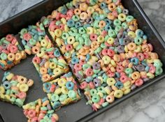 Fruit Loop Treats 3 tbsp. butter or margarine 10oz package of miniature marshmallows 6 cups Fruit Loops cereal