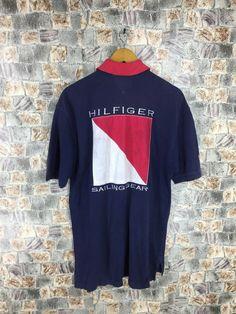 0a66bb01 Vintage TOMMY Hilfiger Polo Shirts Medium Sports Tommy Big Logo Tommy Flag  Polo Shirt Hip Hop Rap Tommy Jeans Shirt Size M
