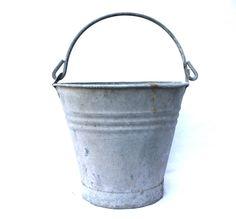Galvanized Bucket Zinc Metal Bucket Outdoor Planter Herb Garden Decor Rustic Country by VerifiedVintageNL on Etsy
