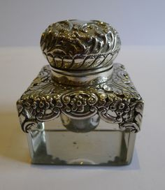 Antique Glass Sterling Silver Inkwell Birmingham 1902