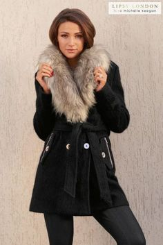 Lipsy Love Michelle Keegan long sleeve coat. In a soft brushed ...
