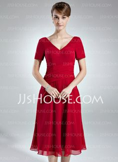 Mother of the Bride Dresses - $118.69 - A-Line/Princess V-neck Tea-Length Chiffon Mother of the Bride Dress With Ruffle (008016007) http://jjshouse.com/A-Line-Princess-V-Neck-Tea-Length-Chiffon-Mother-Of-The-Bride-Dress-With-Ruffle-008016007-g16007