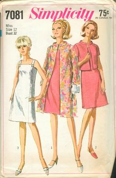 Simplicity 7081 Sewing Pattern Retro Basic A-line Dress Sleeveless Evening Coat Bolero Jacket Jackie O Style Bust 36 Robes Vintage, Vintage Dresses, Vintage Outfits, Vintage Clothing, 60s And 70s Fashion, Retro Fashion, Vintage Fashion, Vintage Dress Patterns, Clothing Patterns