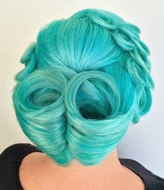 Mermaid dye on vintage styled hairstyle by corieshairescape
