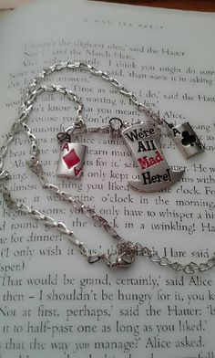 Alice in Wonderland Mad Hatter Were All Mad Here Chain Necklace
