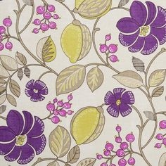Floral and Berries Cotton Fabric by Clarke and Clarke, Premium High Quality English Cotton Fabric for Upholstery, Craft Projects Fabric Blinds, Fabric Shower Curtains, Curtain Fabric, Clarke And Clarke Fabric, Purple Fabric, Red Pattern, Soft Furnishings, Green And Purple, Fabric Patterns