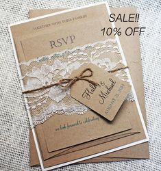 SALE 10% OFF Rustic Wedding Invitation Lace by LoveofCreating